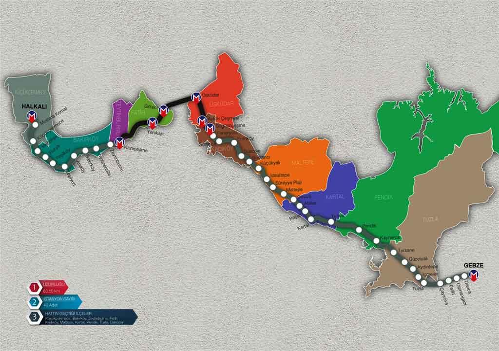 Gabze-Halkalı banliyö hattı durakları